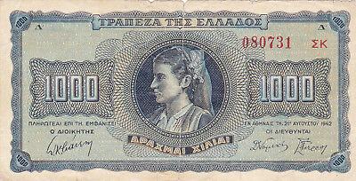 1000 Drachmai Vg-Fine Banknote From German Occupied Greece 1942!pick-118