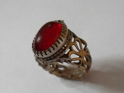 X-Mas Gifts/ Offers, Unknown Silvered  Ring With  Glass /stone. Detector Find.