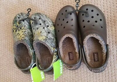 New Crocs Lined Winter Brown/Realtree Camo Clog Sz M8/W10 M11 M10/W12 M12 Unisex