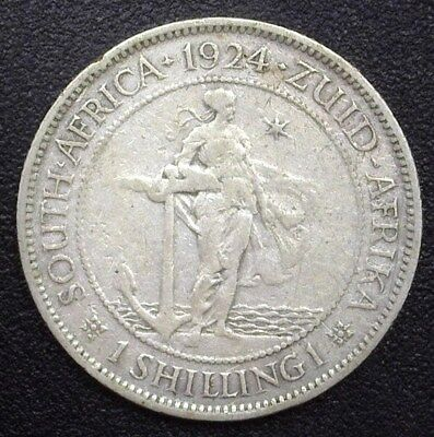South Africa 1924 Silver Shilling  Very Fine  Km#17.1