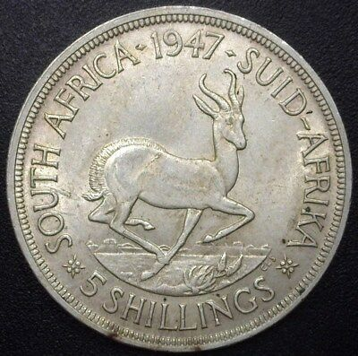 South Africa 1947 Silver 5 Shillings  Near Choice Uncirculated Km#31