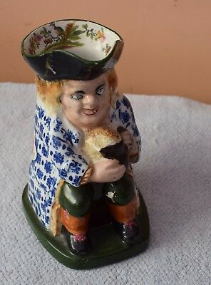Unusual Staffordshire Toby Jug with Floral Coat & Birds inside Hat a/f