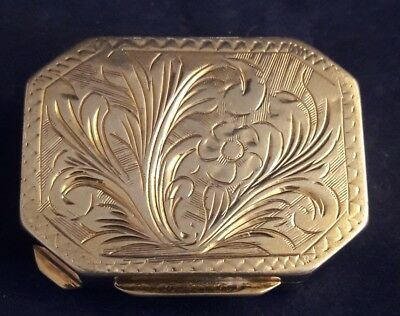 Vintage Italian 800 Silver Floral Chased Rectangle Trinket Pill Box