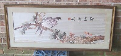 Antique Hand Sewn SILK on SILK Oriental FALCON on Branch Hand Stitched SIGNATURE