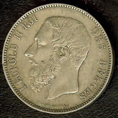 Belgium 1874 Silver 5 Francs Choice Almost Uncirculated Km#24