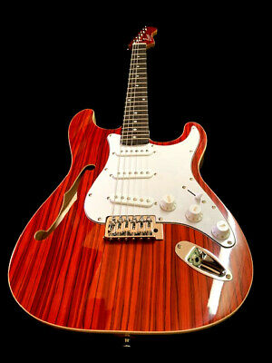 New Exotic Cocobolo Top 6 String Strat Style Semi Hollow Electric Guitar