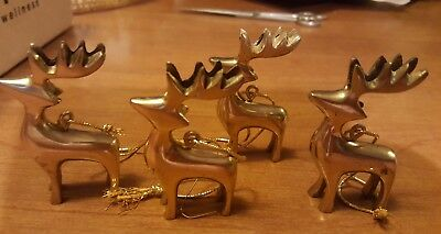 """Vintage Tiny Reindeer Ornaments, Pair Brass, 2-3/4"""" Tall, Smooth Shiny Finish"""