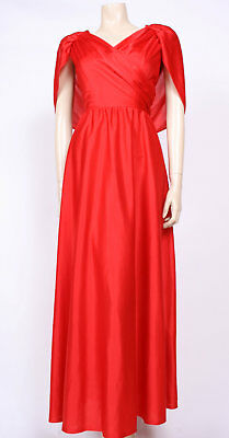 Original VINTAGE 1970's 70's RED LONG CAPED GRECIAN MAXI PARTY DRESS! UK 10