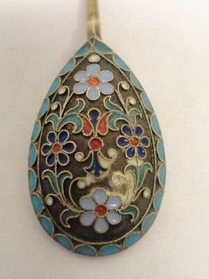 Antique Russian silver 84 cloisonne enamel spoon by Ivan Saltykov. 4.5 inches