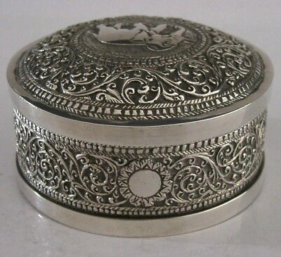 BEAUTIFUL ANGLO INDIAN / CEYLON SOLID SILVER TABLE SNUFF BOX c1900 ANTIQUE 115g