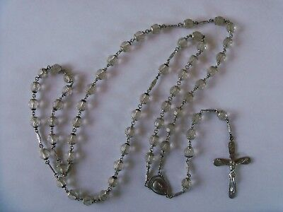 † Antique CRYSTAL Glass Beads & STERLING SILVER Rosary †