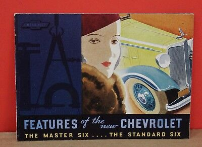 Original 1933 Chevrolet master Six Standard Six Small Brochure Elegant Lady