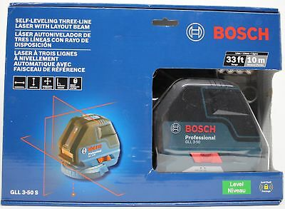 Bosch GLL 3-50 S Self-Leveling Three Line Laser with Layout Beam