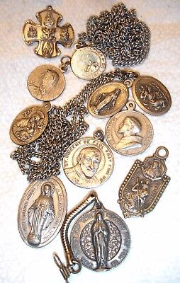 11 Old Catholic Christian Medals Rosary Religious Saints Pendants 2 Sterling