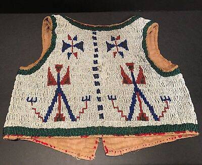 Incredible c.1880 Plains SIOUX FULLY BEADED CHILD'S VEST,Near Mint Condition,NR!
