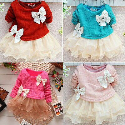 Free Shipping Baby Girls Dress Knit Sweater Tops Lace Bowknot Dresses Clothing