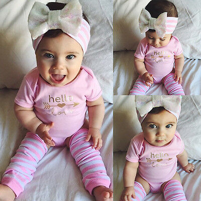 Newborn Infant Baby Girl Romper+Leg Warmers Headband 3pcs Outfits Set Clothes