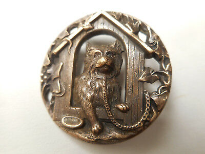 """Dog in the Doghouse Medium Antique Brass Pierced Buttons 1-1/8"""""""