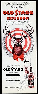 1954 Old Stagg Bourbon whiskey deer in Christmas wreath art vintage print ad