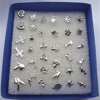 Charm Wholesale lots Bulk 24 Pairs Unisex Mix Styles Silver Plated Stud Earrings