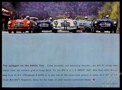 1960 MG MGA red blue white race car Lime Rock color photo vintage print ad