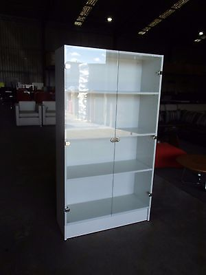 Office/Home Display Cabinet/Bookcase 3-Shelves Glass Door White Melamine 34209/c