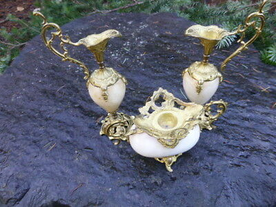 Antique 19th Century Miniature French Urn set in Marble w/ Omolu Mounts  3 piece