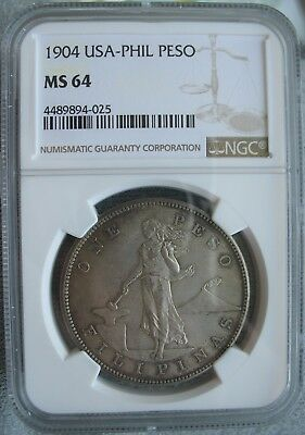 1904 USA-PHIL Peso NGC MS-64
