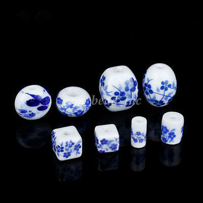 10X Ceramic Round Cylinder Blue And White Charm Loose Porcelain Bead DIY Making