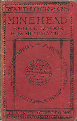 VERY EARLY WARD LOCK RED GUIDE - MINEHEAD - 1916/17 - 8th edition - RARE!