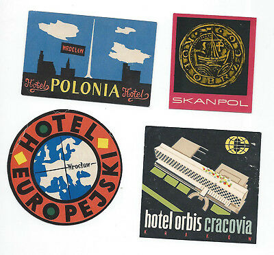 POLAND CLASSIC – lot of 4 vintage luggage hotel labels (set5)