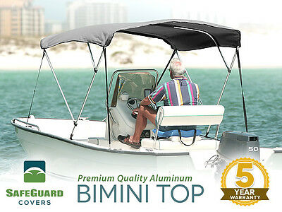 """NEW 3 BOW GREY BIMINI BOAT COVER TOP WITH BOOT 6'L X 46""""H x 79""""-84""""W"""
