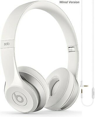 Apple Beats Solo 2 White Wired Headphones with Microphone - Grade A Refurbished