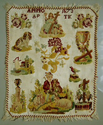 Gorgeous! 1873 Antique Romantic Dutch Woolwork Sampler Dog Flowers Holy Cross