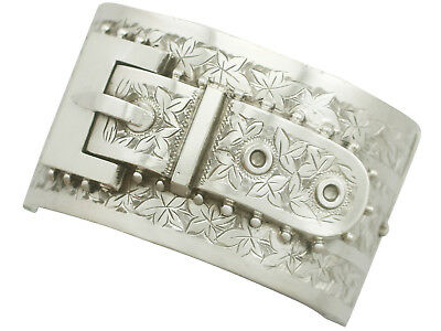 Antique 1890s Victorian Sterling Silver Buckle Bangle