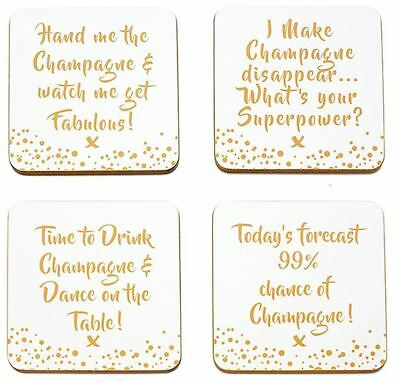 Gold Edition Champagne Coasters Set of 4