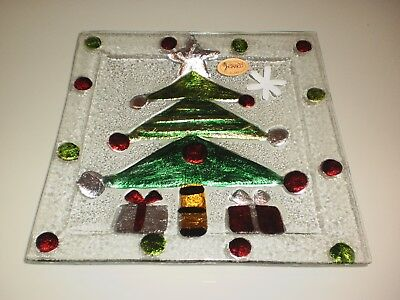 Rikaro Hand Made Art Glass Santa Christmas Tree Square Plate