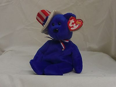Sam 2003 blue TY Beanie Babie 8in patriotic hat bear 3up boys girls 40075