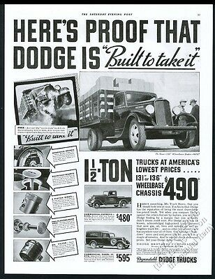 1935 Dodge pickup truck stake bed stakebed panel 3 models photo vintage print ad