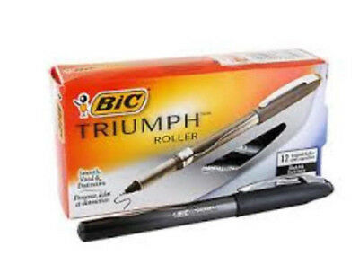 24 BiC Triumph Capped Rollerball Pens, 7mm Fine, Black, (Two Boxes) RT5711 NEW