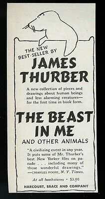 1948 James Thurber seal sea lion art The Beast in Me book release print ad