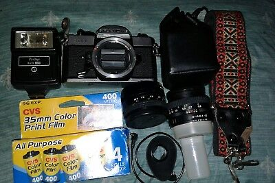 Vintage Fujica STX-1 Camera Lot! With 35mm Film Vivitar Flash Lenses + Bonus!!