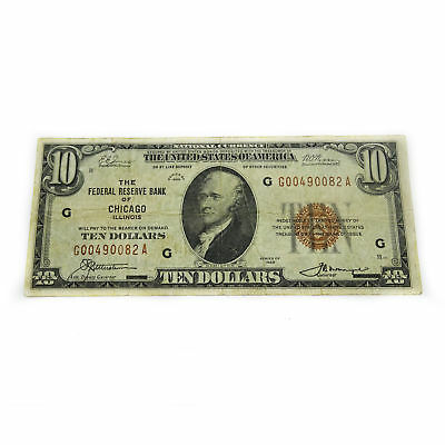 FR-1860-G 1929 Series $10 Federal Reserve Note 7G Chicago F12