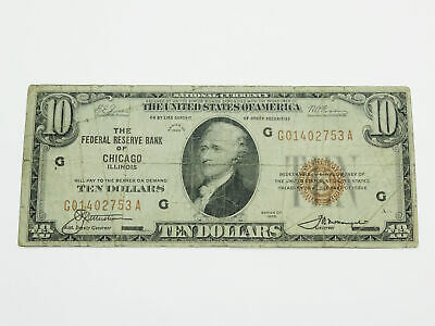 FR-1860-G 1929 Series $10 Federal Reserve Note 7G Chicago VG8