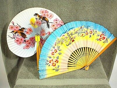 Vintage Japanese Chinese Fan 2 Fans Flowers Birds Blue Pink Metal Wood
