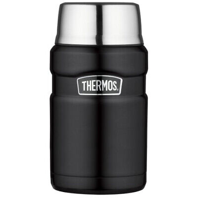 Thermos Stainless King 24 Ounce Food Jar, Matte Black For Hot or Cold Wide Mouth