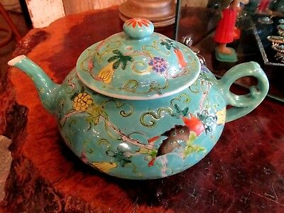 Antique Chinese export Famille rose teapot blue green ground butterflies signed