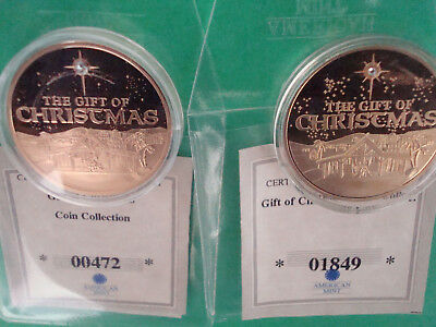 American Mint Medal The Gift of Christmas - Ltd. Ed. 1/9999 Set of Two Coins