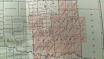 1904 USGS Color Survey Map of Indian Territory, Oklahoma, TX, Red River, Pawnee