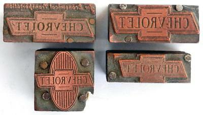 1930s CHEVROLET letterpress printing printer blocks bowtie logo (4 ea.)